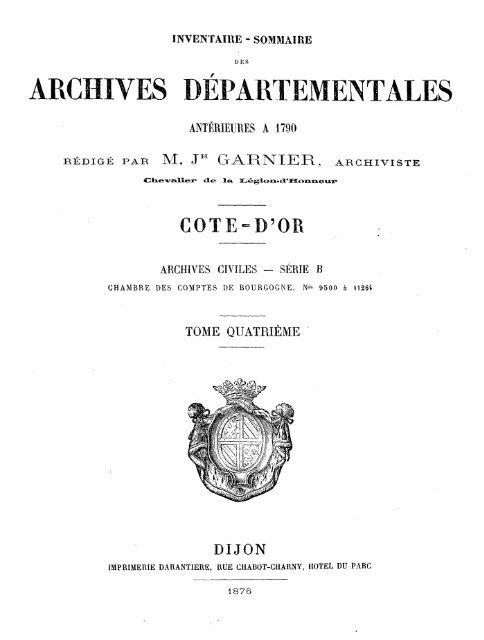 Archives Départementales Antérieures A 1790