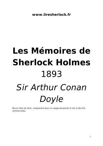 Les Mémoires de Sherlock Holmes 1893 Sir Arthur ... - Lire Sherlock