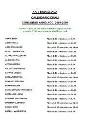 collegio nuovo calendario orali concorso anno acc. 2008-2009
