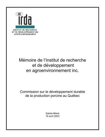 Mémoire de l'Institut de recherche et de développement en ... - IRDA