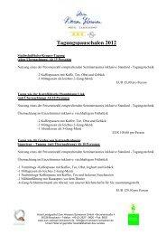 Tagungspauschalen 2012 - Zum weissen Schwanen