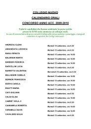 collegio nuovo calendario orali concorso anno acc. 2009-2010