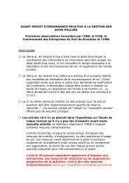 AVANT-PROJET D'ORDONNANCE RELATIVE À LA ... - BECI