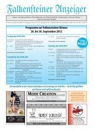 Programm zur Falkensteiner Kirmes 28. bis 30. September 2012