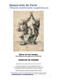Dürer et son temps, DOSSIER DE PRESSE - Ensba