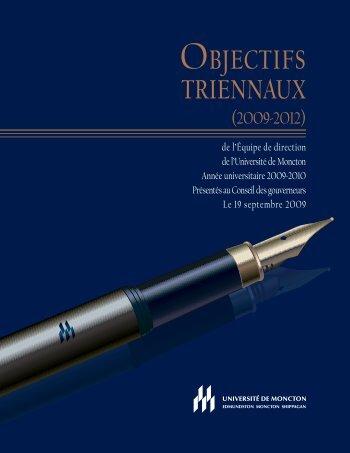 Objectifs triennaux 2009-2010 - Université de Moncton