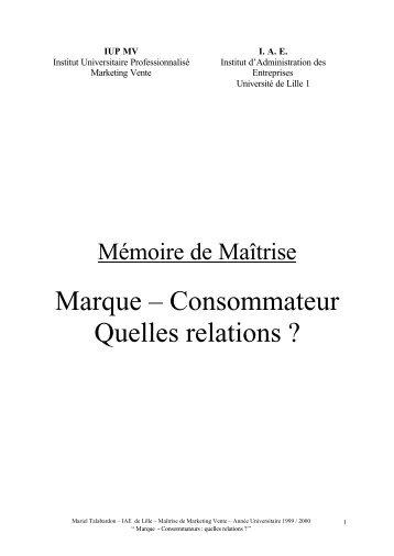 Marque – Consommateur Quelles relations ? - Le site des mémoires ...