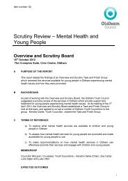 Scrutiny Review – Mental Health and Young People - Oldham Council