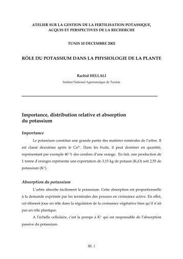 Importance, distribution relative et absorption du potassium - The ...
