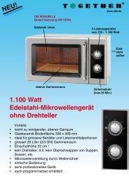 1.100 Watt Edelstahl-Mikrowellengerät ohne ... - Together GmbH