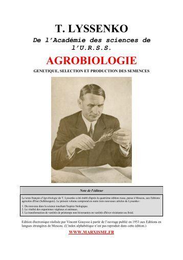 Agrobiologie de T Lyssenko - communisme-bolchevisme