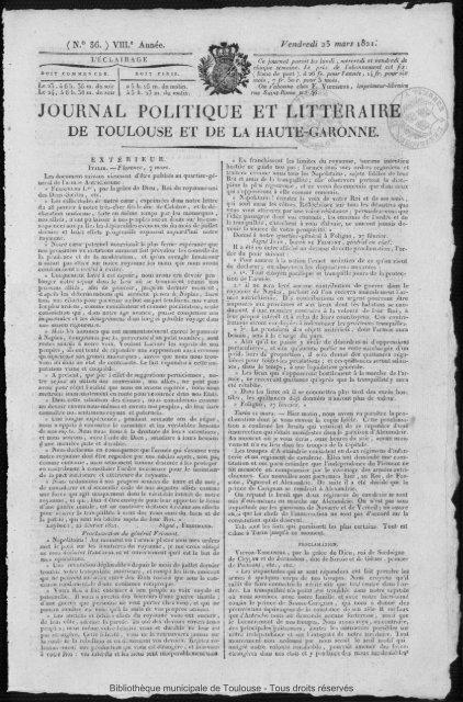 JOURNAL POLITIQUE ET LITTLRAIRE - Bibliothèque de Toulouse ...