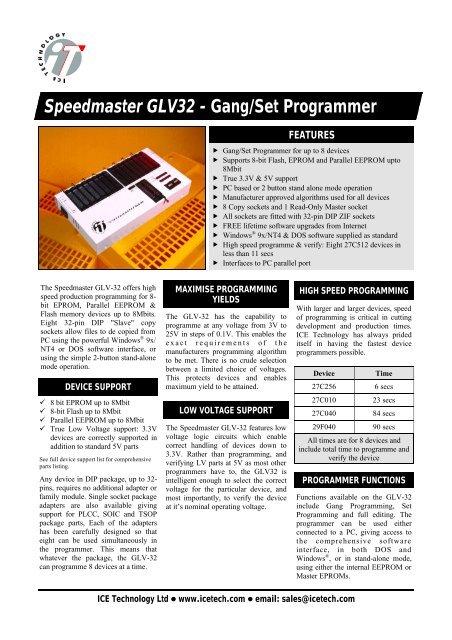 Speedmaster GLV32 - Gang/Set Programmer - Farnell