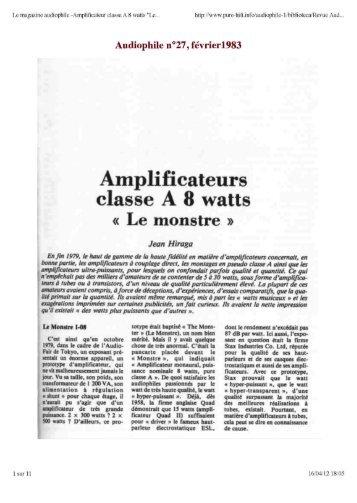 """Amplificateur classe A 8 watts """"Le Monstre"""" - pure-hifi"""