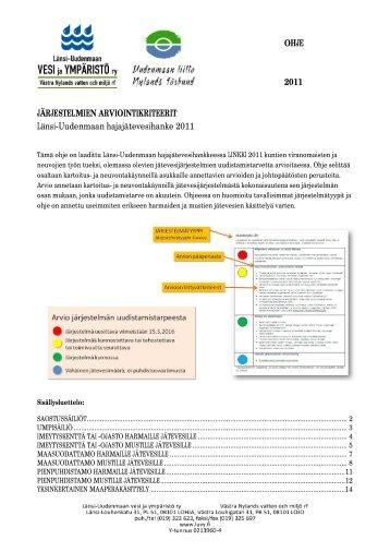 Jätevesijärjestelmän arviointikriteerit - Länsi-Uudenmaan vesi ja ...