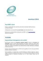 Jäsenkirje 2/2012 TULEVAA - BMF
