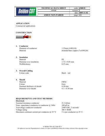 TECHNICAL DATA SHEET code 4300UE version 2 date ... - Farnell