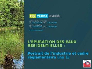 L'épuration des eaux résidentielles - Regroupement technologique ...