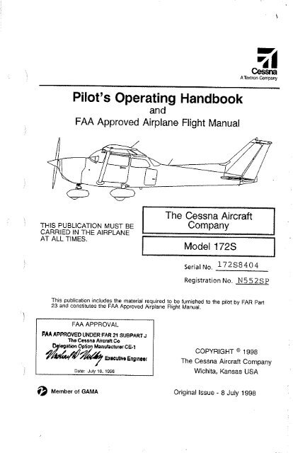 Pilot S Operating Handbook Engineers Flying Club