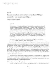 La confrontation entre culture et foi dans l'Afrique ... - Lingua Romana