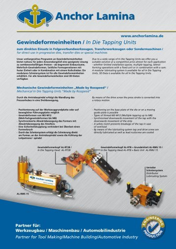 Gewindeformeinheiten / In Die Tapping Units - Anchor Lamina