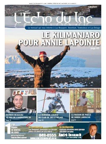 LE KILIMANJARO POUR ANNIE LAPOINTE - L'Écho du Lac