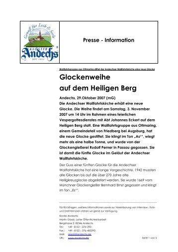 Glockenweihe auf dem Heiligen Berg - Kloster Andechs