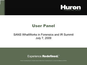 James Zinn - User Panel - SANS Computer Forensics
