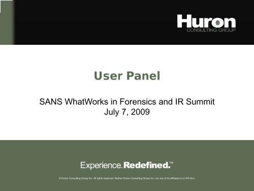 James Zinn - User Panel - SANS Computer Forensics