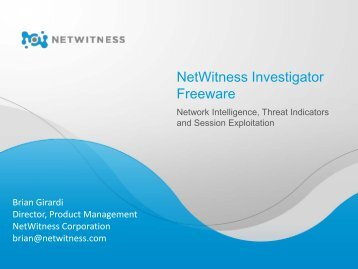 NetWitness Investigator Freeware - SANS Computer Forensics