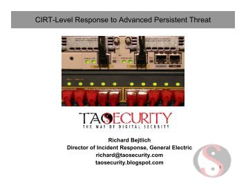 CIRT-Level Response to Advanced Persistent Threat - SANS ...
