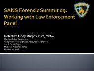 Working With Law Enforcement - SANS Computer Forensics