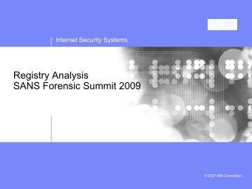Registry Analysis - SANS Computer Forensics