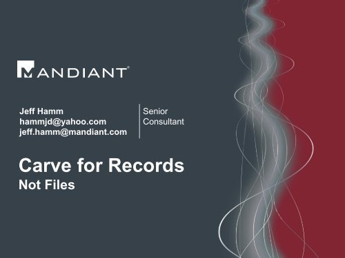 Carve for Record not Files - SANS Computer Forensics