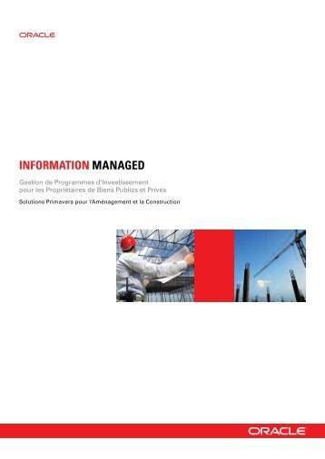 Gestion de Programmes d'Investissement pour les ... - Oracle