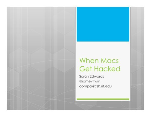 When Macs Get Hacked - SANS Computer Forensics