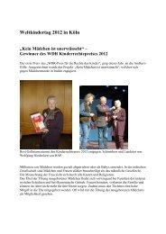 """Weltkindertag 2012 in Köln """"Kein Mädchen ist ... - Andheri-Hilfe Bonn"""