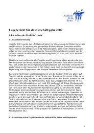 Lagebericht für das Geschäftsjahr 2007 - Andheri-Hilfe Bonn