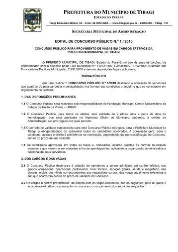 Edital Concurso de Tibagi - Concursos - UNIUV