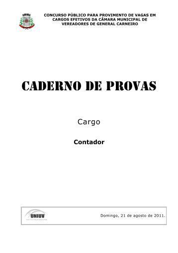 Contador - Concursos - UNIUV