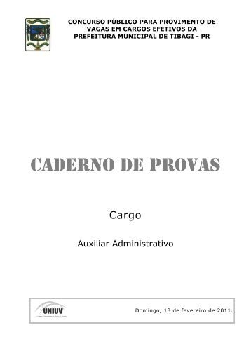 CADERNO DE PROVAS - Concursos - Uniuv