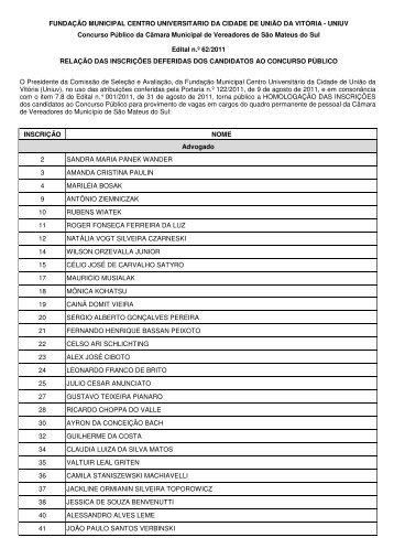 Edital em PDF - Concursos - UNIUV