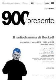 Il radiodramma di Beckett - Conservatorio della Svizzera Italiana