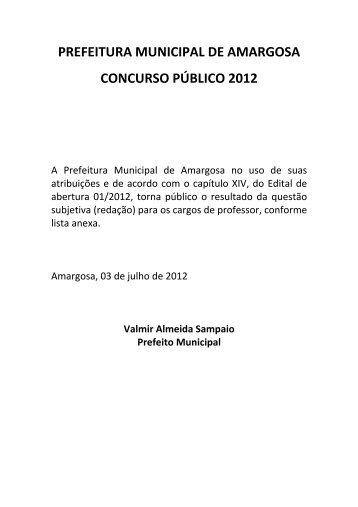 prefeitura municipal de amargosa concurso público 2012 - Fapes