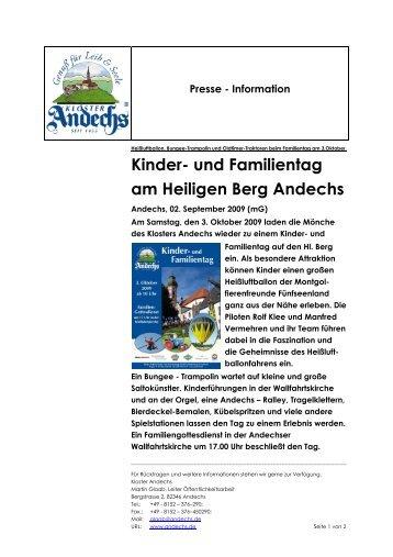Kinder- und Familientag am Heiligen Berg Andechs - Kloster Andechs