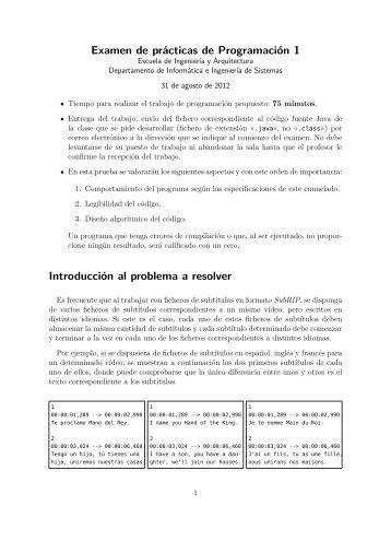 Examen de prácticas de Programación 1