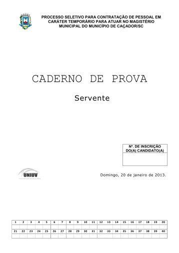 Servente - Concursos - Uniuv