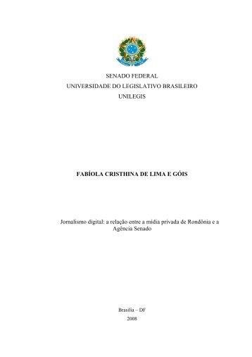 SENADO FEDERAL UNIVERSIDADE DO LEGISLATIVO ...