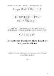 J.Maréchal, Le point de depart de la métaphysique Cahier IV 1947 ...