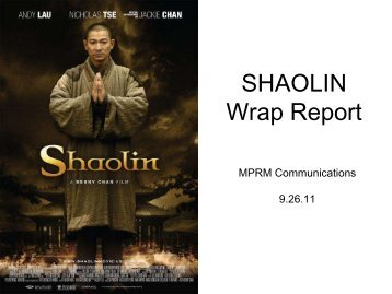 Download Wrap Report for film client Shaolin